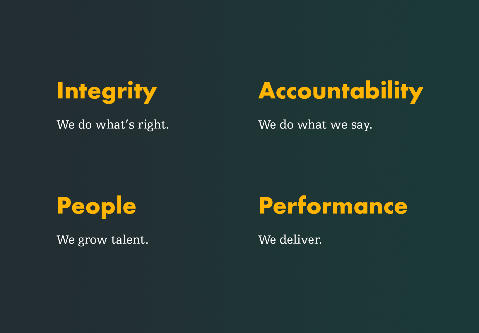 Integrity, Accountability, People, Performance